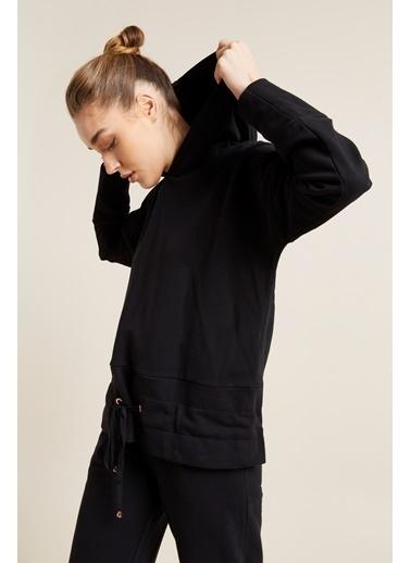 Love My Body Beli Ayarlanabilir Bağcıklı Sweatshirt Siyah